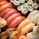 Close up of various types of japanese fresh prepared sushi. - PhotoDune Item for Sale