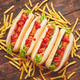 American hot dogs assorted in row. Served with french fries - PhotoDune Item for Sale