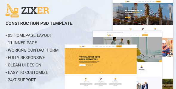 ZIXER - Construction Building Company Template