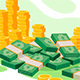 Isometric Golden Coins and Cash - GraphicRiver Item for Sale