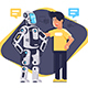 Flat Young Man Talking To Robot with Speech Bubble - GraphicRiver Item for Sale