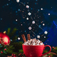 Marshmallow Ursa Major constellation with chocolate crumbs over a red cup of Christmas hot chocolate - PhotoDune Item for Sale