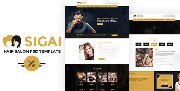 Sigai | Salon PSD Template - Health & Beauty Retail