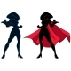 Superheroine Battle Mode Silhouette - GraphicRiver Item for Sale