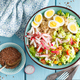 Bowl with wheat porridge, boiled eggs and fresh vegetable salad - PhotoDune Item for Sale