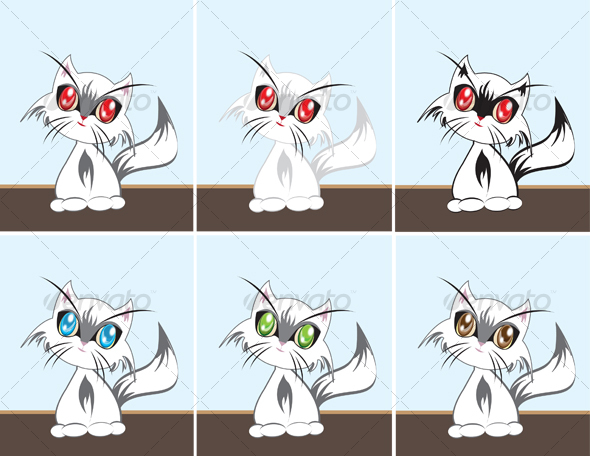 Six vector cats sitting in a room - Animals Characters
