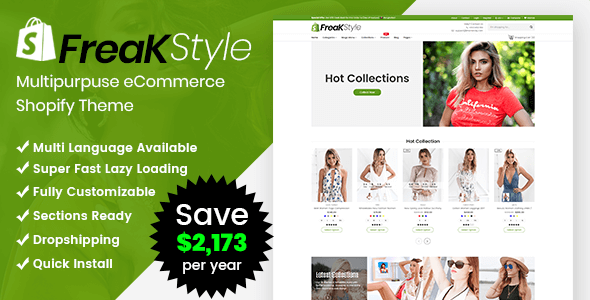 Freak - Fashion Shopify Theme Multipurpose Responsive Template - Shopify eCommerce