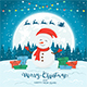 Snowman on Blue Winter Background with Gifts and Christmas Lights - GraphicRiver Item for Sale
