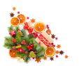 Christmas decorations with spices and spruce branches on a white - PhotoDune Item for Sale