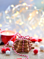 Christmas cookies with christmas decorations on blurred and spar - PhotoDune Item for Sale