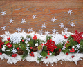 Christmas decorations and spruce branches on snow-covered a wood - PhotoDune Item for Sale