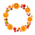 Round frame with dried orange, christmas decorations, anise star - PhotoDune Item for Sale