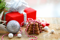 Christmas cookies with festive decorations on a wooden table. Ch - PhotoDune Item for Sale
