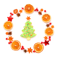 Round frame with dried orange, christmas cookies, anise stars on - PhotoDune Item for Sale