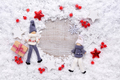 Frame of snow with toys and christmas decorations on snow-covere - PhotoDune Item for Sale