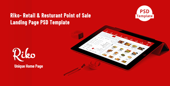 Riko- Retail & Resturant Point of Sale Landing Page PSD Template - Technology PSD Templates