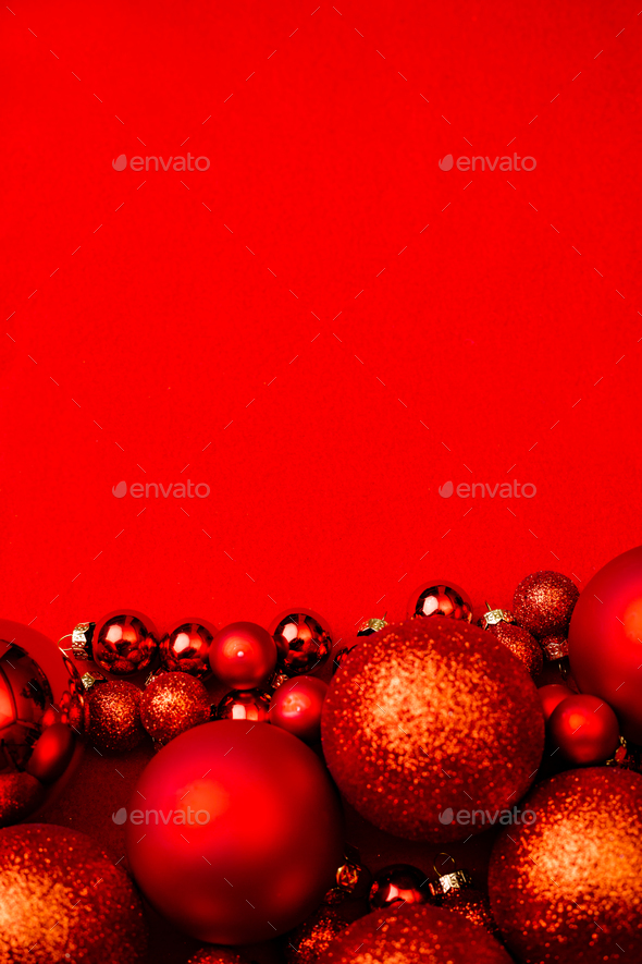 Red Christmas Background.Christmas Red Background Frame With Red Christmas Balls