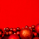 Christmas red background frame with red christmas balls. - PhotoDune Item for Sale