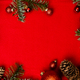 Christmas red background with fir tree, red christmass balls. - PhotoDune Item for Sale