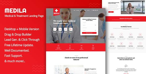 Medila - Medical Treatment & Health Care Landing Page Template by Divine-Store