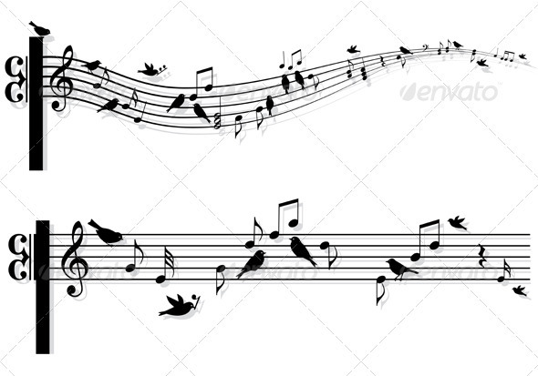 Music Notes With Birds, Vector  - Decorative Symbols Decorative