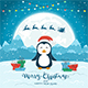Happy Penguin and Santa on Blue Christmas Background - GraphicRiver Item for Sale