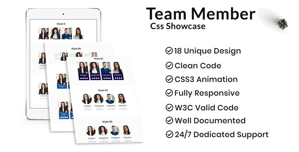 Team Members CSS Showcase - CodeCanyon Item for Sale