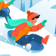 Kids with Ice Floe Ride Down the Hill in Forest - GraphicRiver Item for Sale