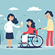 Smiling Woman in Wheelchair with Family - GraphicRiver Item for Sale
