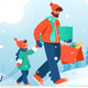 Father with Beard Goes Shopping with His Son - GraphicRiver Item for Sale