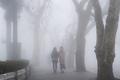 cool street in fog, lushan mountain landscape, jiangxi province, China - PhotoDune Item for Sale