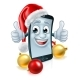 Cell Mobile Phone Christmas Mascot in Santa Hat - GraphicRiver Item for Sale