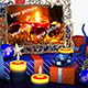 Free Download Christmas scene with a bunch of presents in a room with candles 02 Nulled