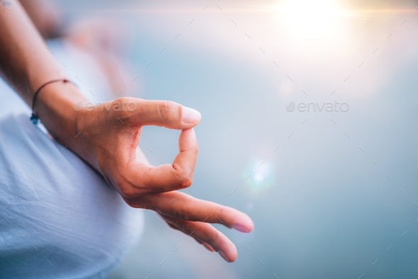 Yoga Woman Hands. Lotus Position - Stock Photo - Images