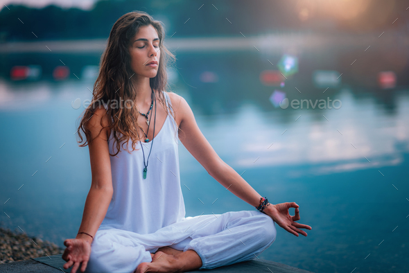 Meditation, Yoga Woman, Nature - Stock Photo - Images