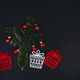 Christmas tree and gifts over black background with fir tree. - PhotoDune Item for Sale