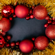 Christmas red balls frame over black background - PhotoDune Item for Sale