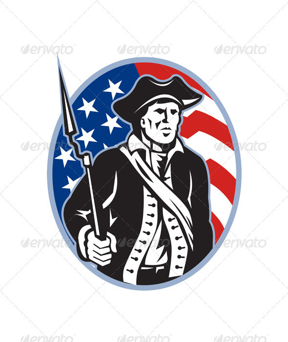 American Patriot Minuteman With Bayonet Rifle - People Characters