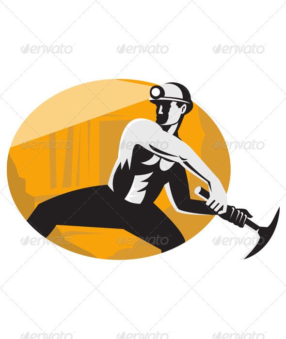 Coal Miner With Pick Ax Striking Retro - Industries Business