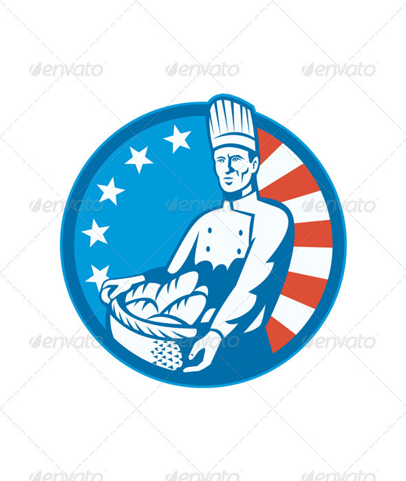 American Chef Baker Cook With Basket Loaf Bread - People Characters