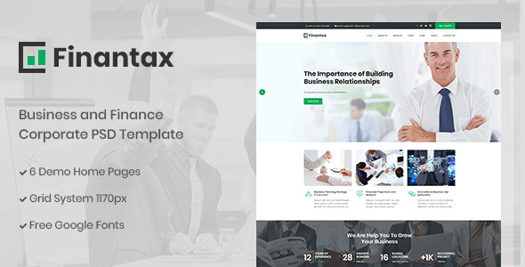 Finantax - Business and Finance Corporate PSD Template
