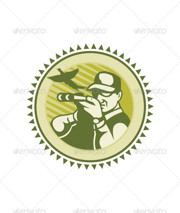 Hunter Aiming Shotgun Rifle With Pheasant Bird - People Characters