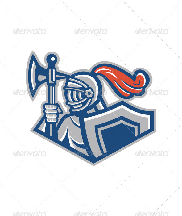 Knight With Spear Axe And Shield - Characters Vectors