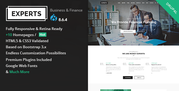 Experts Business - Multipurpose Business & Finance Drupal 8.6.4 Theme - Business Corporate