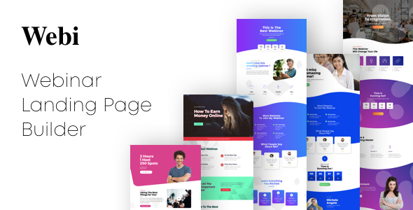 Webi - Webinar Landing Pages with Page Builder - Landing Pages Marketing