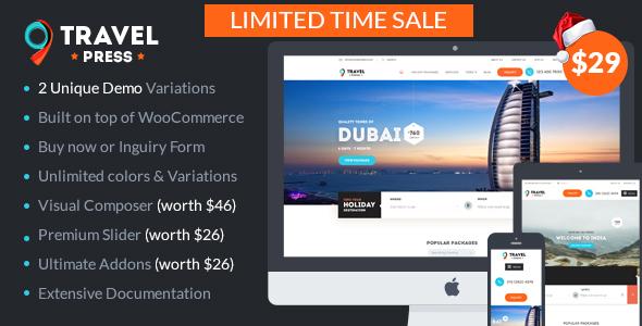 Travel Agency WordPress Theme - Tour Operator / Vacations | TravelPress - Travel Retail