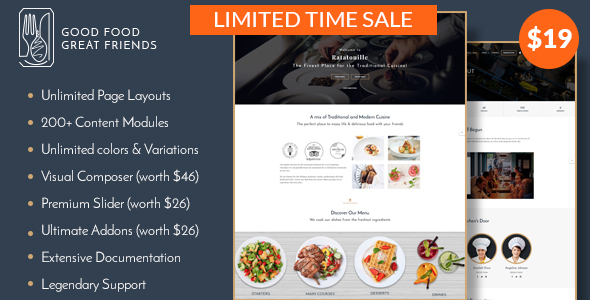 Restaurant WordPress Theme | Ratatouille - Restaurants & Cafes Entertainment