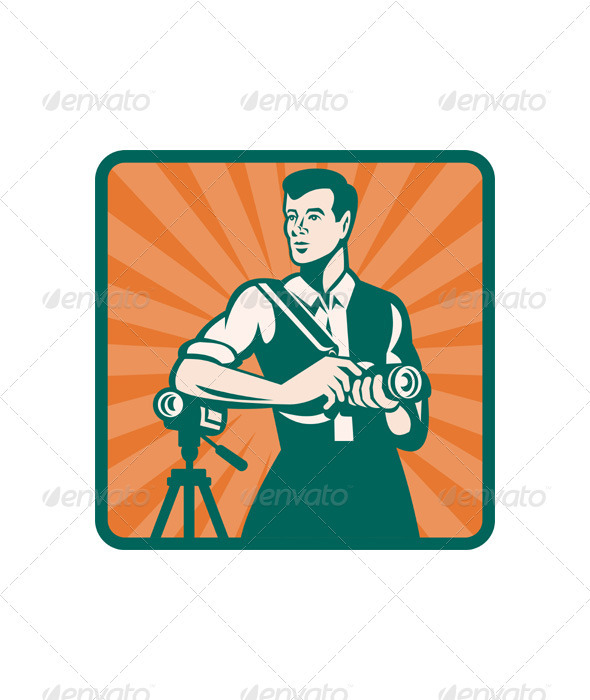 Photographer With DSLR Camera and Video Retro - People Characters