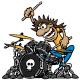 Wild Drummer Playing Drum Set Cartoon Vector Illustration - GraphicRiver Item for Sale