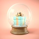 Free Download Blue gift box in snow ball 3D illustration Nulled